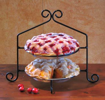 Pie Racks Made from 1/4  steel rod they are strong and sturdy. They are food safe and easy to clean. Each ring has inside diameter of 9 1/4 . & Zimmerman Marketplace: Two Tier Wrought Iron Pie/Plate Rack Wrought ...